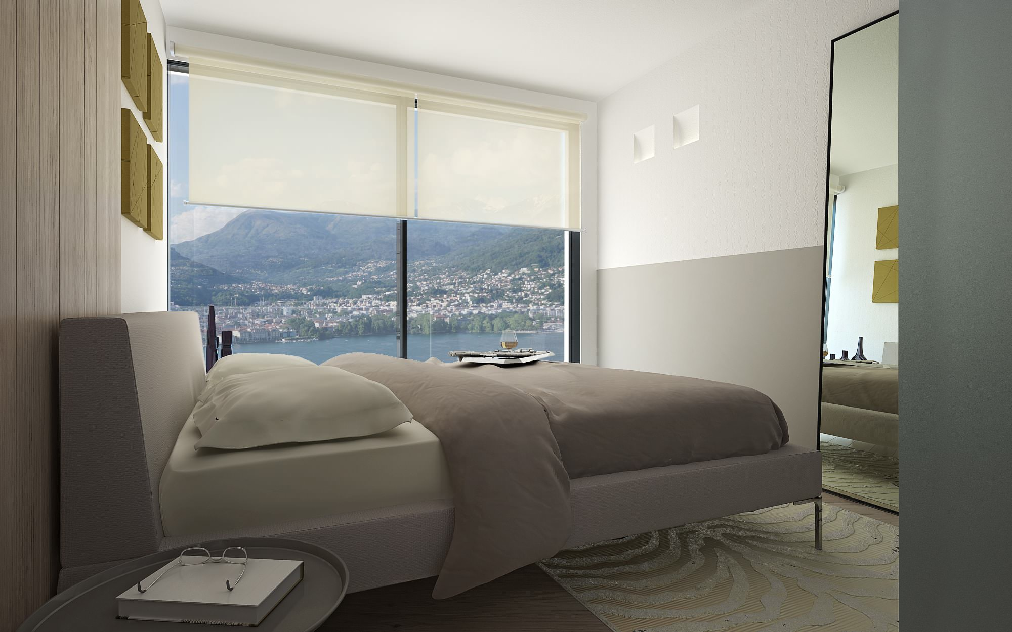 View lake Lugano Lugano bedroom penthouse design Lugano Switzerland Ticino
