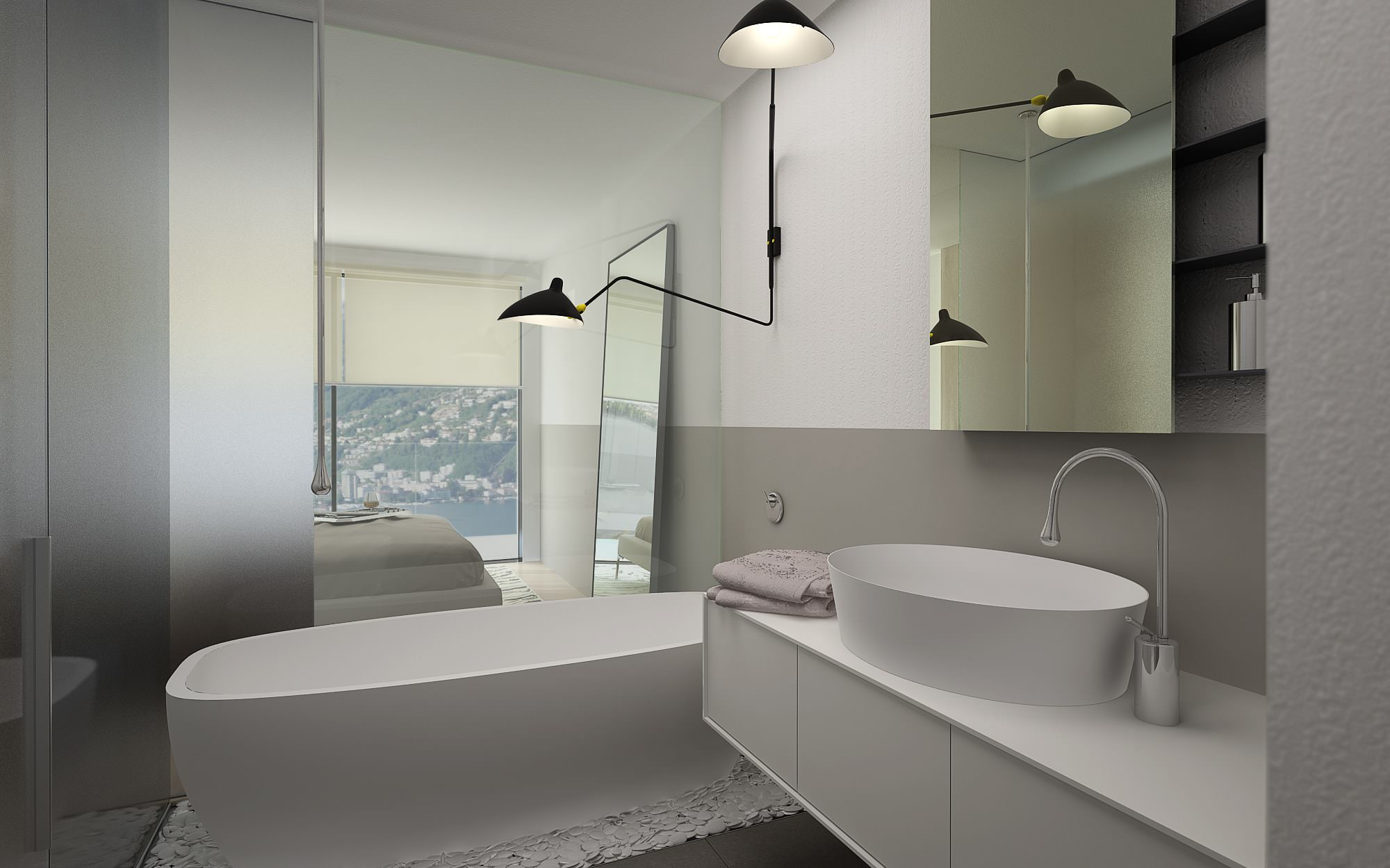 Design bathroom in Lugano luxury penthouse