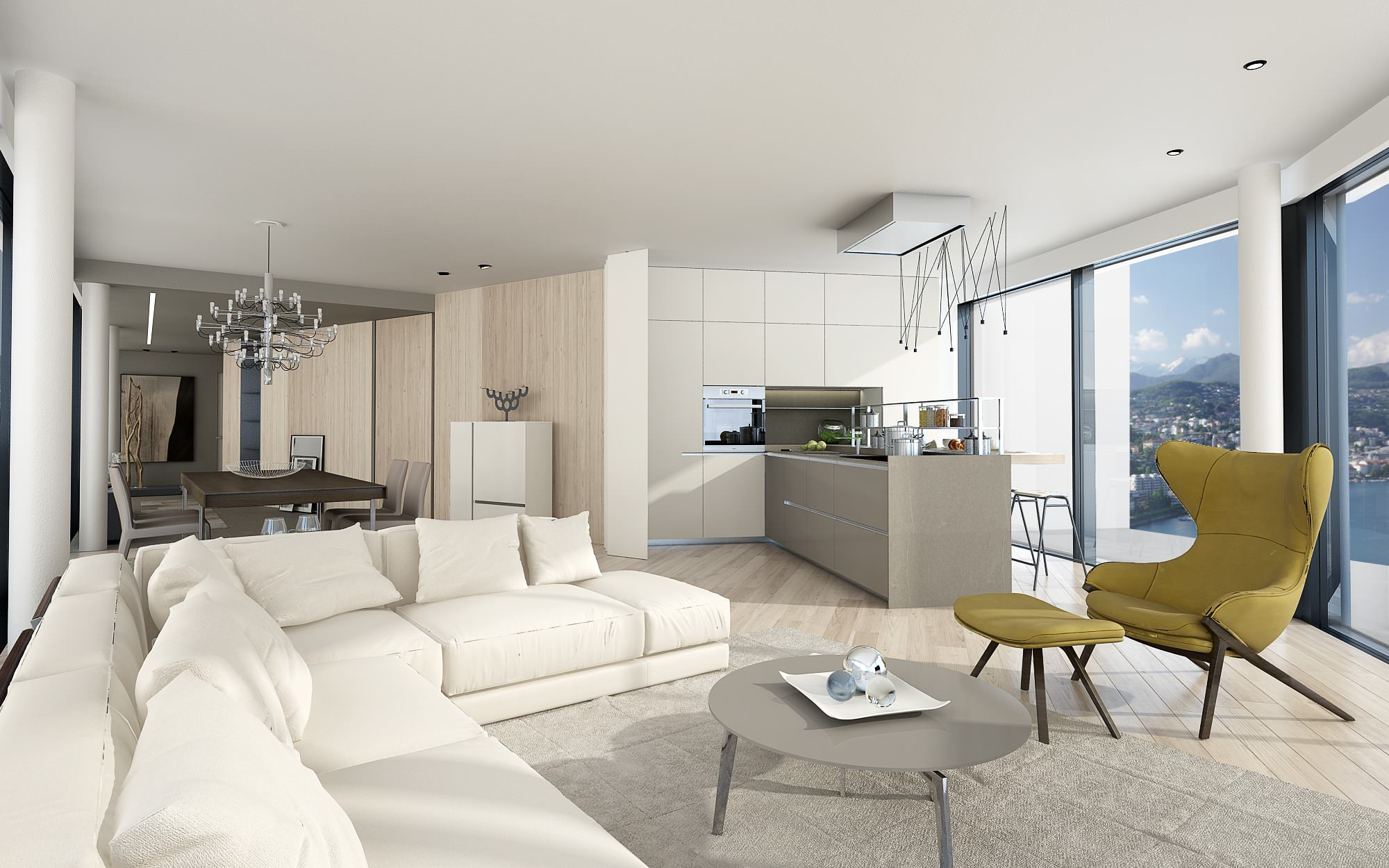 Interior design sofas penthouse Lugano Ticino Switzerland