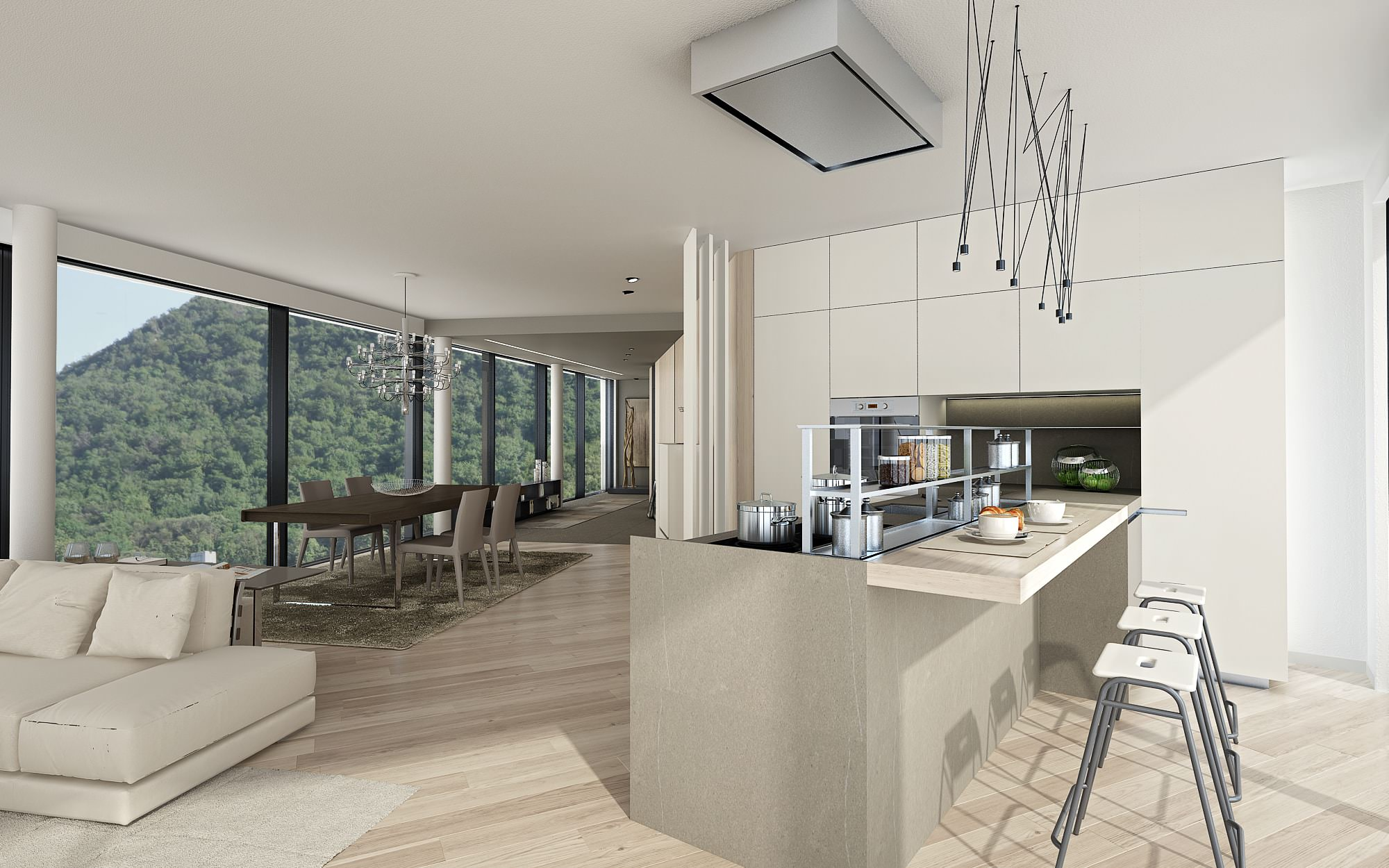 kitchen modern penthouse details Lugano Switzerland Ticino