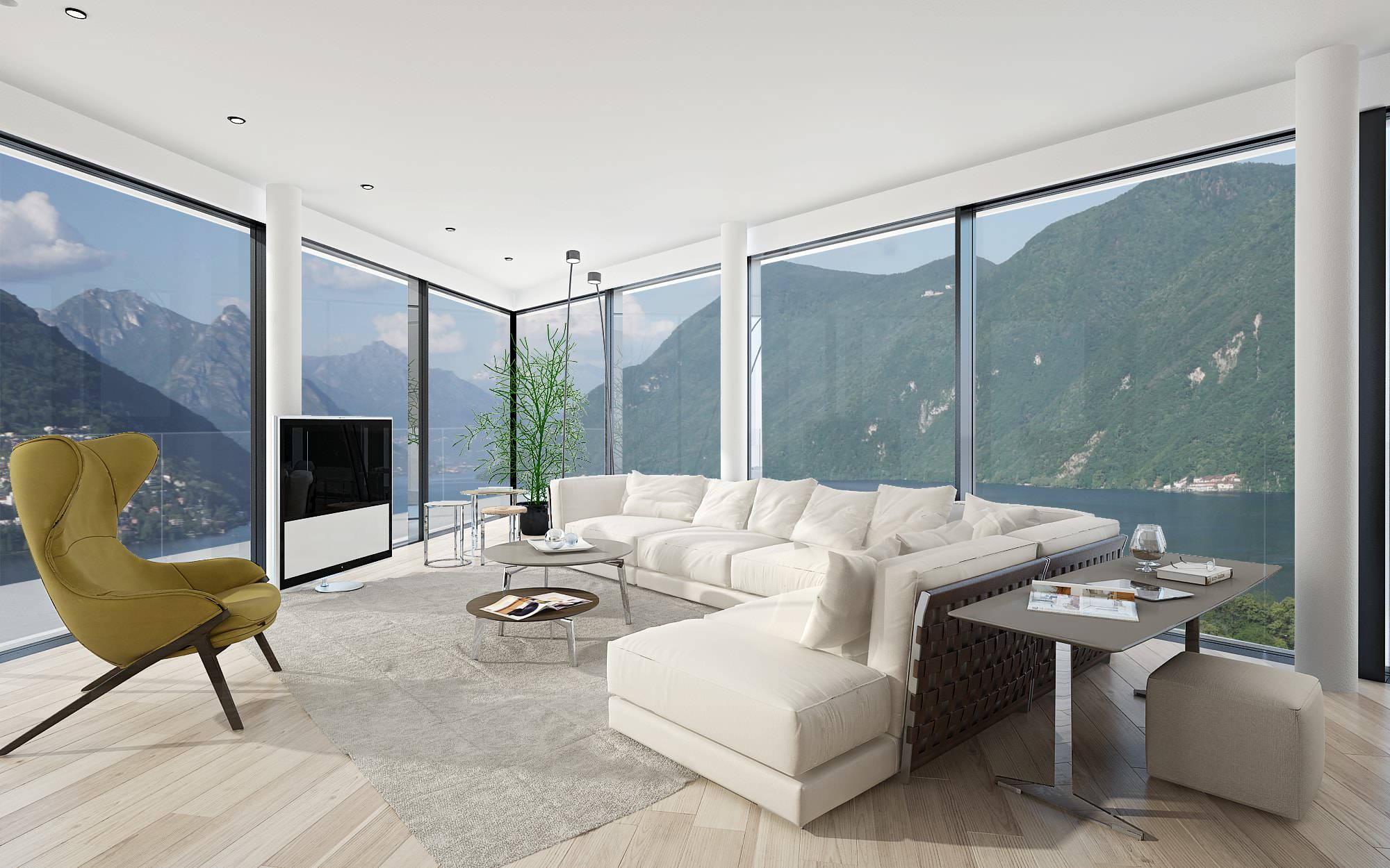 Modern penthouse interior view Lugano Ticino Switzerland