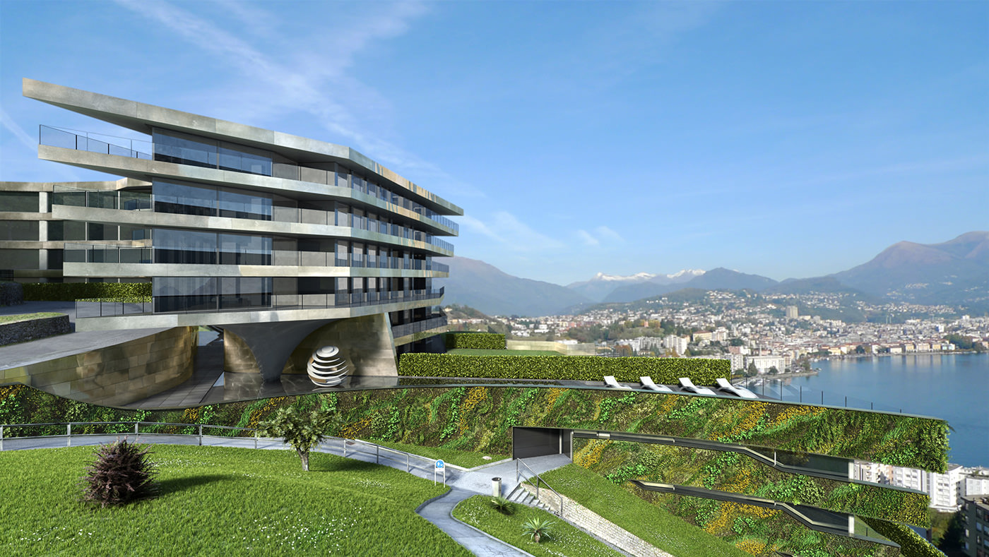 Nizza Paradise Residence with mountains and sky background