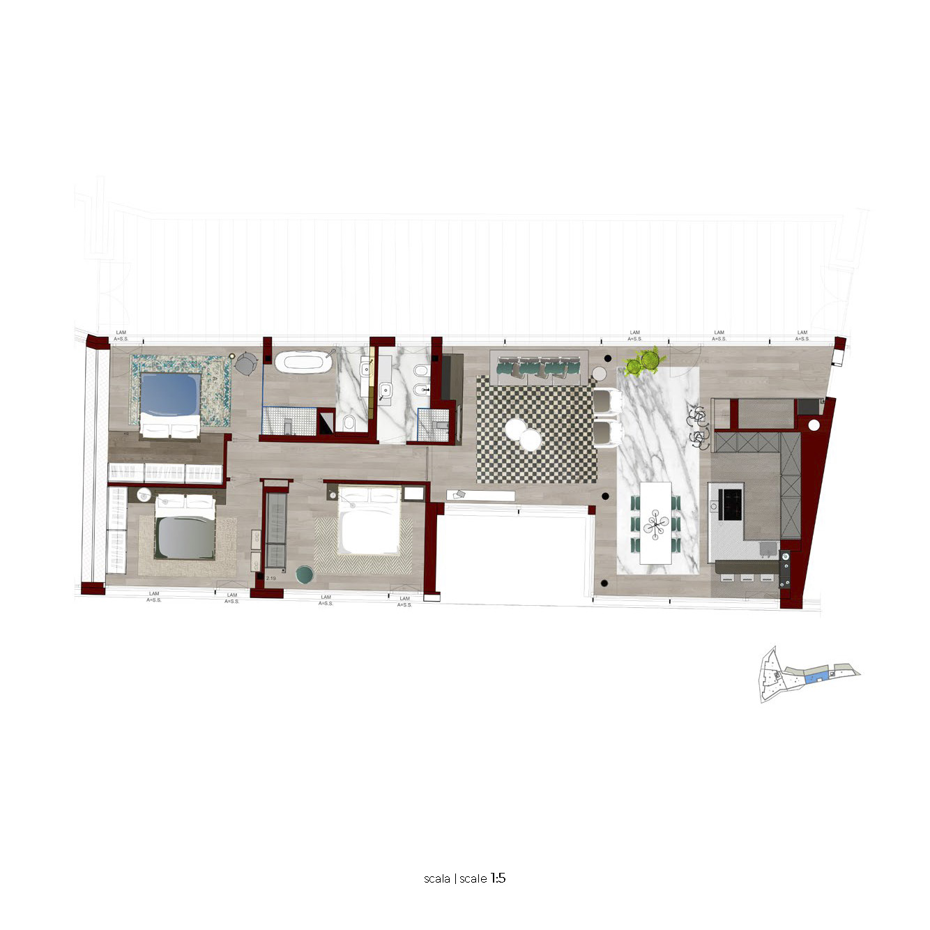 Plan floor 5 apartment penthouse 5 page 1