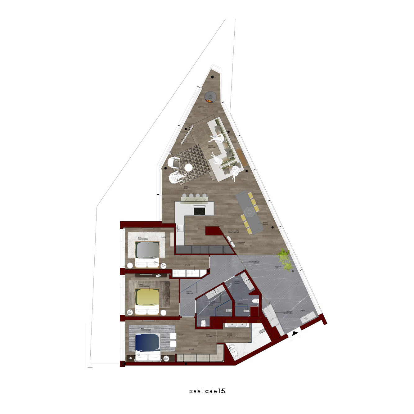 Plan of modern innovative design in Lugano Switzerland Ticino