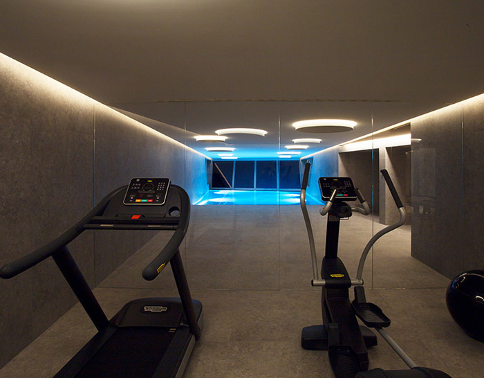 Prestigious real estate with indoor gym Lugano Ticino Switzerland pool view