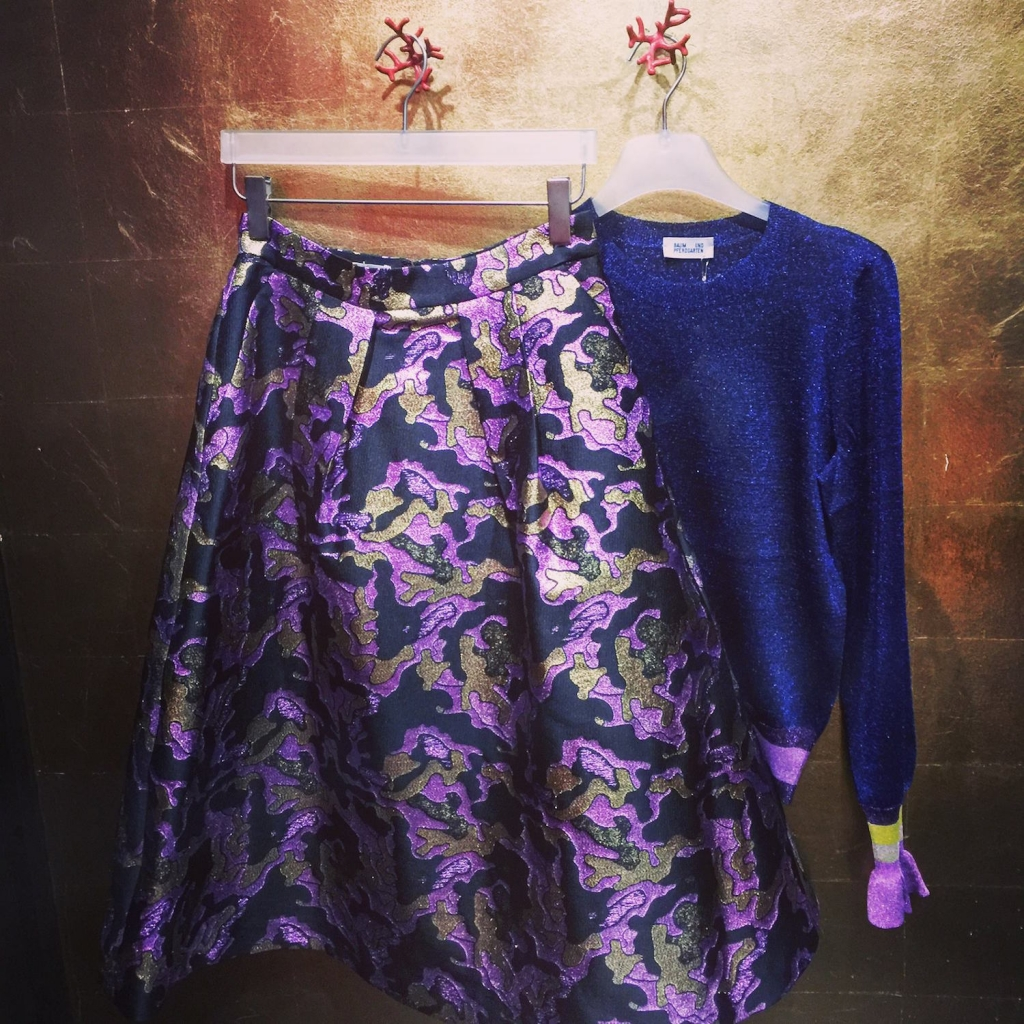 gorgeous jacquard metallic skirt and sparkly metallic knit